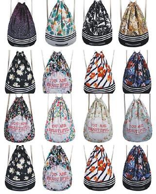 Fashion Sport Backpack Drawstring Casual School Shopping Swimming Gym Canvas Bag