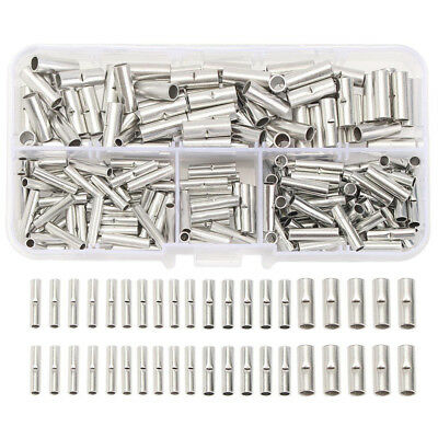 200 x Uninsulated Wire Ferrule Crimp Rolled Terminals Butt Connectors New UK