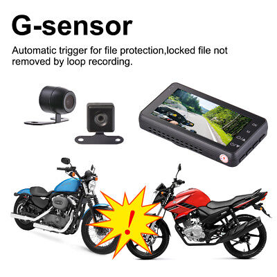 "3"" 140° Waterproof Motorcycle Car Bike Dual Action Camera DVR Camcorder MA1543"