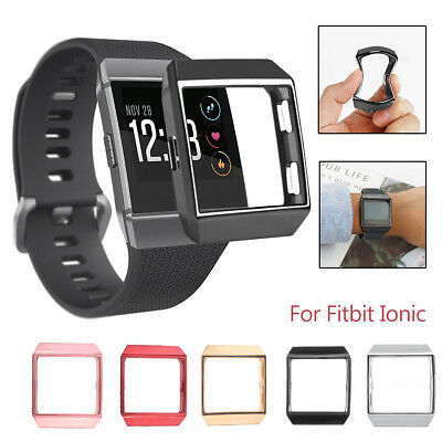 Soft TPU Silicone Frame Protective Cover Case Screen Protector For Fitbit Ionic