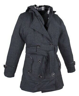 WOMENS LADIES DARK GREY BUTTON UP FANCY COAT w/ BELT & REMOVABLE HOOD  - DC82