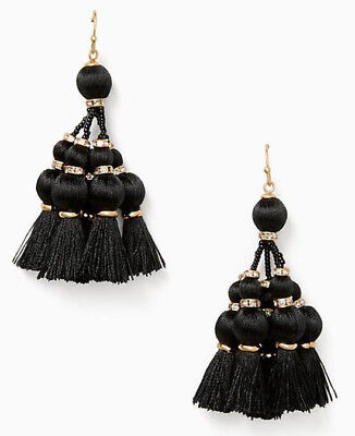 Kate Spade New York Women's Pretty Poms Tassel Statement Earrings - Black