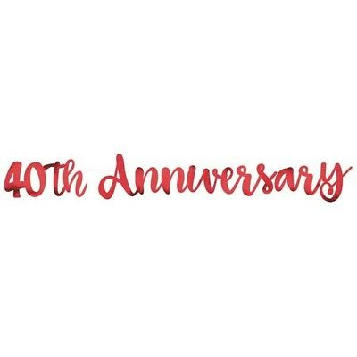 5FT 40th ANNIVERSARY BANNER 40 YEARS PARTY 40th NEW RUBY WEDDING DECORATION NEW