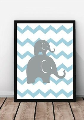 (Set of 3) Elephant Love Nursery Print A4 for Childrens Bedroom