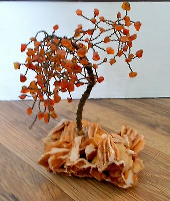 Glass Wire Tree Scupture Rock Base Orange Agate Leaves Vintage Bonsai