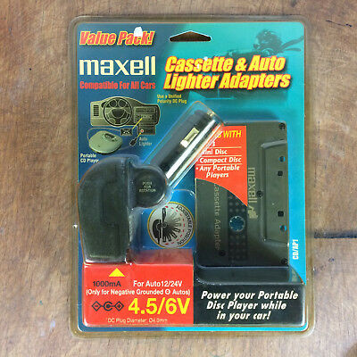 NOS 90s Vintage Maxell CD player Cassestte Auto Lighter Adapter Car Kit Tape