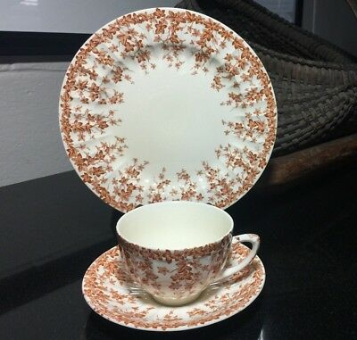 """Crown Ducal Dessert Set Early English Joy Flat Cup and Saucer w/ 8"""" Salad Plate"""