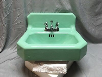 Vtg Mid Century Standard Jadeite Green Porcelain Cast Iron Bath Sink Old 202-18E