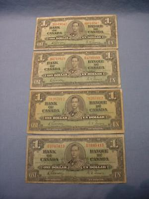 4 Canada 1937 One Dollar Bank Of Canada Bank Notes