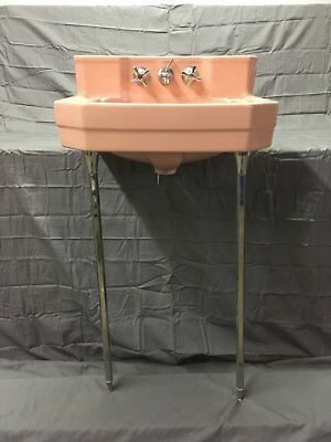 Vtg Shelf Back Ceramic Pink Bathroom Wall Sink Chrome Legs Old 792-17E