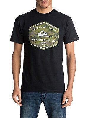 Quiksilver NEW Black Mens US Size Small S Camo Logo Graphic Print Tee Shirt #143