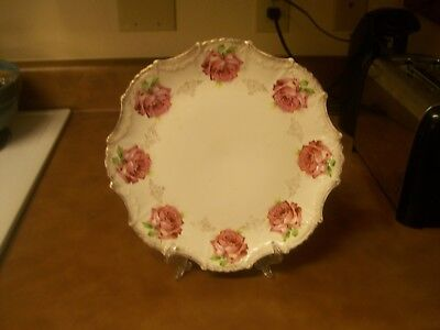 """Lovely Victorian 10"""" Pink and Green Roses Plate - Wonderful Condition"""