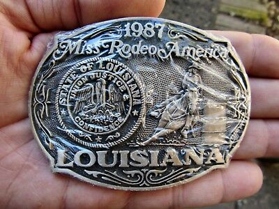 Vtg MISS RODEO Belt Buckle 1987 Louisiana Barrel Racing NIP Brass RARE NEW