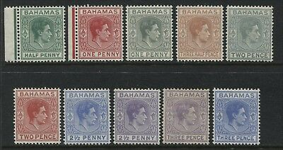 Bahamas KGVI 1938-43 complete values to 3d mint o.g.