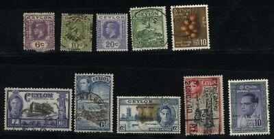 Ceylon 10 different Mint & Used stamps