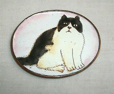 Vintage Painted Enamel on Brass Oval Lid Ornament Cat Kitty Painting