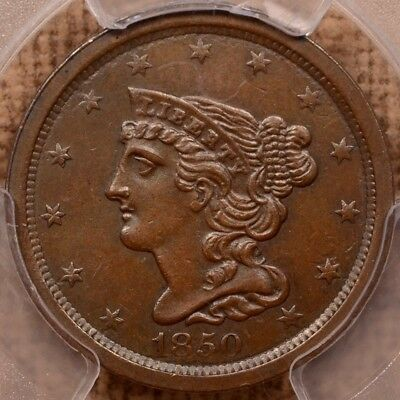 1850 Braided Hair Half cent, PCGS AU55 CAC, very choice coin  DavidKahnRareCoins