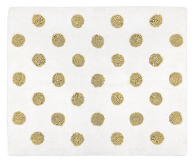 Gold Polka Dot for Watercolor Floral Collection Accent Floor Rug or Bath Mat