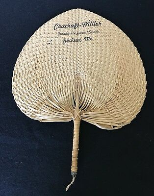 Vintage Woven Wicker Reed Palm Furniture & Funeral Advertising Fan, Jackson, MO
