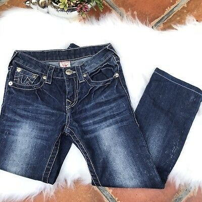 1f957beae True Religion Kids Boys Straight Leg Jeans Big T Super T Light Wash Blue Sz  10