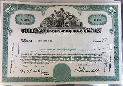 Studebaker - Packard Corporation Stock Certificate 1961
