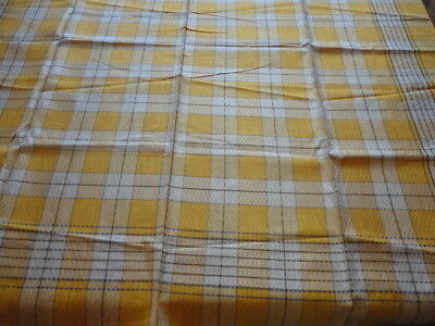 """Vintage 1950'S Tablecloth Gold / White/ Black  Plaid 48"""" X 49"""" Never Used Japan"""