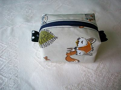 Dummy Soother Pacifier Case Holder Handmade Fryetts Woodland Fox Oilcloth