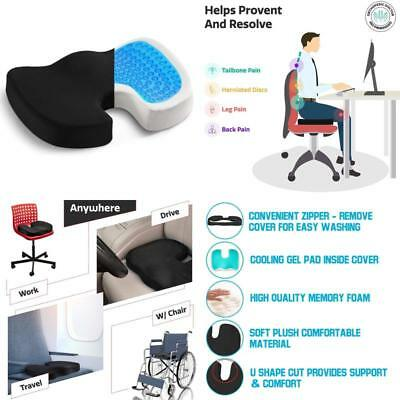 Coccyx Orthopedic Seat Cushion Gel Comfort Foam Tailbone Pain Relief Chair Supp
