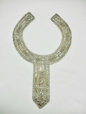 Vintage Deco Style Silver Beaded Collar. Fabric Lined.