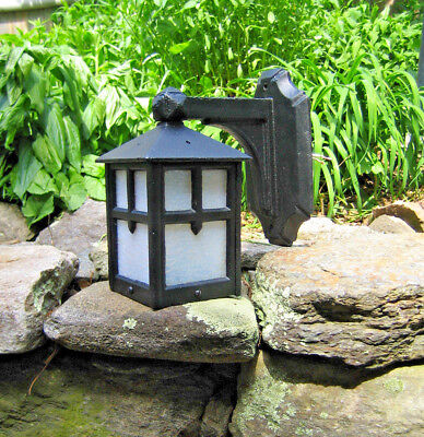 Old Antique Mission Arts & Crafts Porch Light Heavy Cast Iron Slag Glass Gothic
