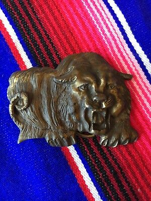 Vintage Solid brass Tiger design belt buckle tattoo art western