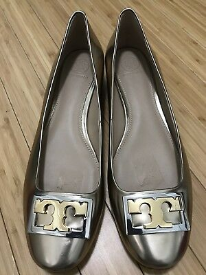 11228e62d305 Gently Used Tory Burch Gigi Pump Metallic Spark Gold Block Heel Neutral  Size 8