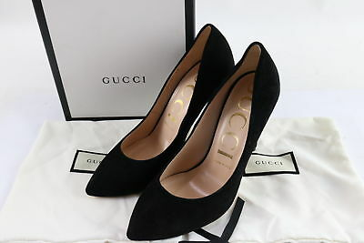 53a963cbe2a NIB GUCCI BLACK Suede Pump Shoes With Removable Web bow Size 38 ...