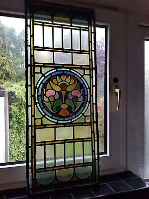 reclaimed antique 1800s Chapel Church stained leaded glass side window fan light