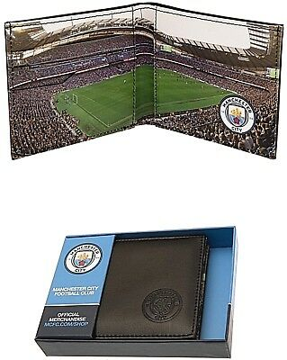Manchester City Fc Real Leather Football Sports Money Stadium Wallet Man Mcfc