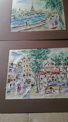 Antique Old Paris 2 Watercolors signed by P. Renyes