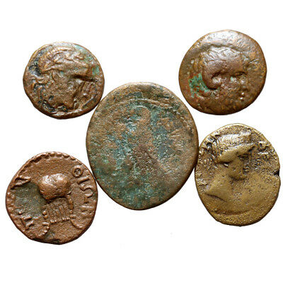 Lot Of 5 Ancient Greek Bronze Coins Circa 250-100 Bc
