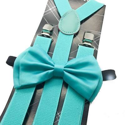 Mint Teal Suspender + Clip on Bow-Tie Matching Set for Adults Men Women