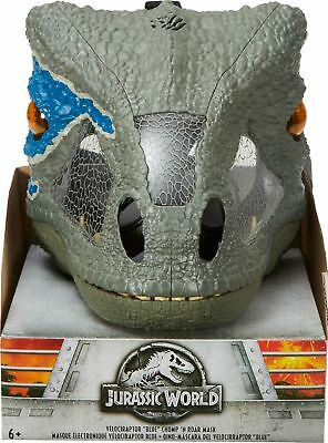 "Jurassic World - Chomp 'n Roar Mask Velociraptor ""Blue"" - Gray/White/Blue"
