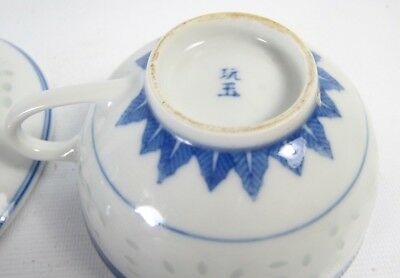 Fine! Set of Chinese Blue White Porcelain Tea Cup and Saucer Wanyu Mks