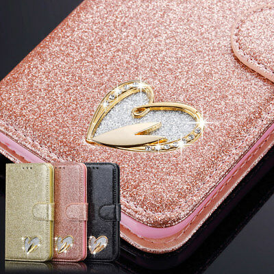 iPhone Samsung Galaxy S9 Bling Glitter Diamond PU Leather Flip Wallet Case Cover