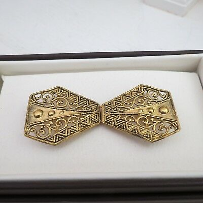 Gold gilt metal vintage belt buckle art deco