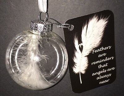 Memory Tree Ornament~White Angel Feather~Memorial Ornament~New~Free Shipping
