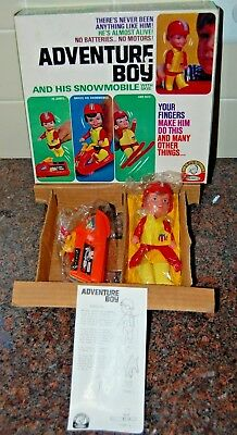 Vintage REMCO 1970 Finger Ding Doll Adventure Boy Action Figure Snowmobile-NEW!