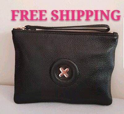 Free Post Mimco Daydream Black Rose Gold Medium Pouch Wallet Cow Leather Rrp99.9