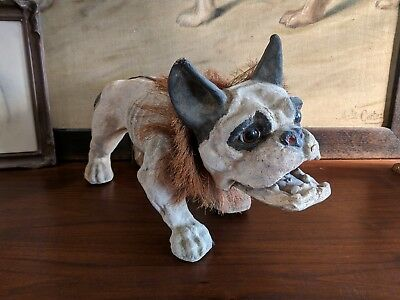 Antique French Bulldog Antique Toy Pull Toy Growler Nodding Head Paper Mache