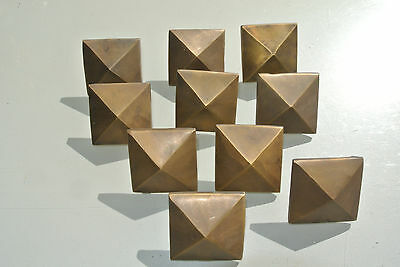 "10 Door studs decoration square  corner vintage solid brass heavy  2"" B"