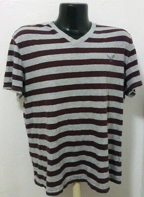e235f725 AMERICAN EAGLE OUTFITTERS seriously soft stripe Crew T-Shirt V-Neck Sz L◇