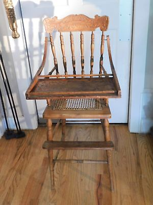 OLD Wooden High Chair with Cane Seat, Footrest, and Movable Tray