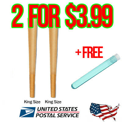 RAW King Size Authentic Pre-Rolled Cones 2 count w/ Filter & FREE Doob tube